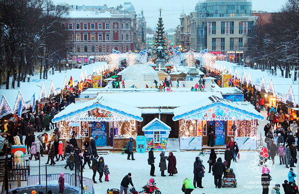Christmas fair on Pionerskaya square St.Petersburg 2018
