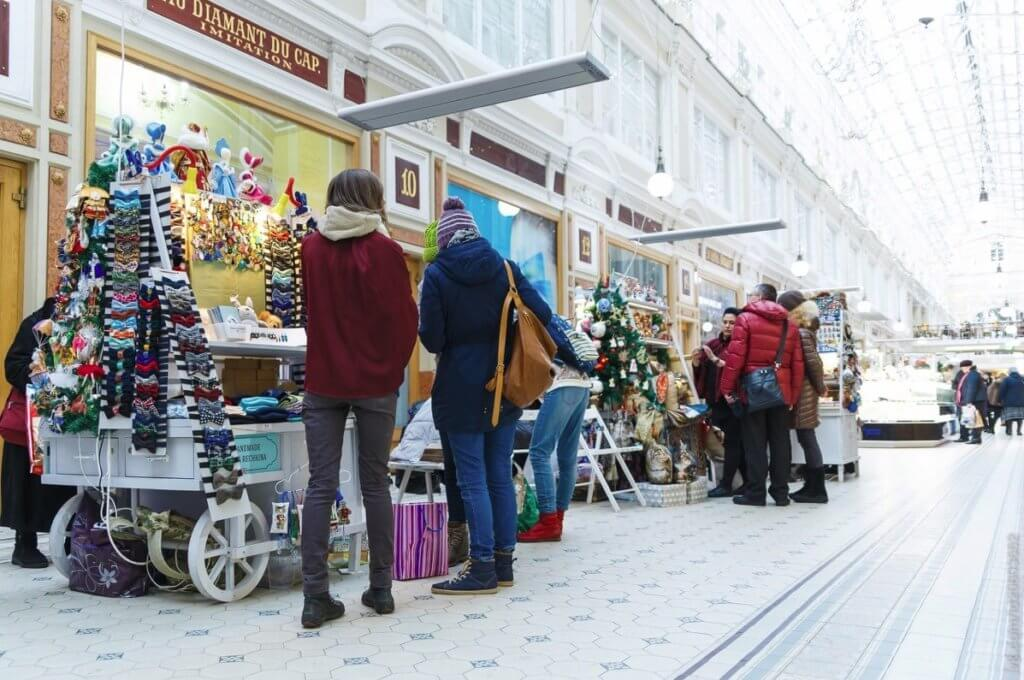 Christmas fair in Passage shopping gallery St.Petersburg 2018
